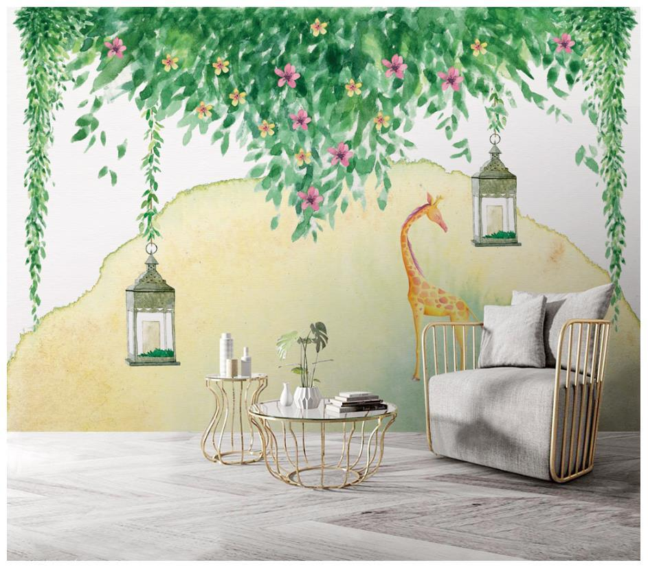 Custom 3d Wallpaper For Walls 3 D Wall Murals Flower Vineyard Hand Painted Green Vine Plant Background Mural Desktop Free