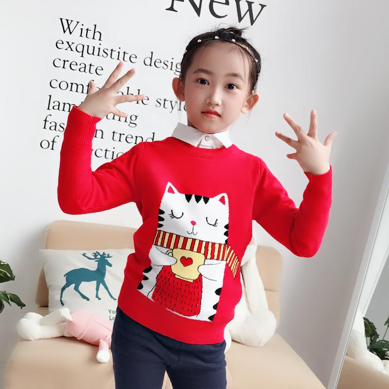 b31f0e3eb Sweater For Girls 2018 Fashion Winter Warm Children Clothes Cartoon Cat  Pullover Baby Girl Costume Infant 2 7Y Top Kids Sweater Knitting Pattern  Girls ...