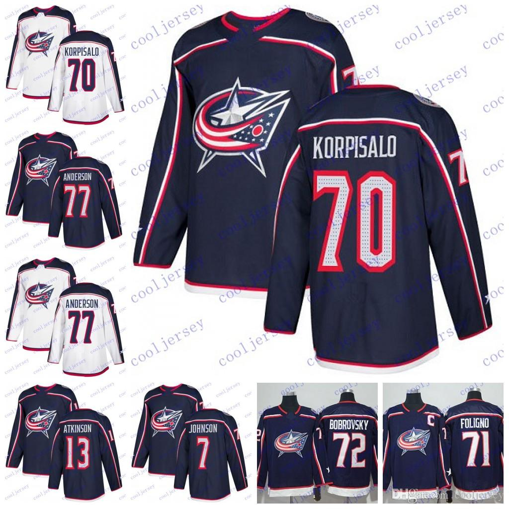 separation shoes 6a57c 6716f 2018 Columbus Blue Jackets #65 Markus Nutivaara 77 Josh Anderson 70 Joonas  Korpisalo Hockey Jerseys Stitched White Navy