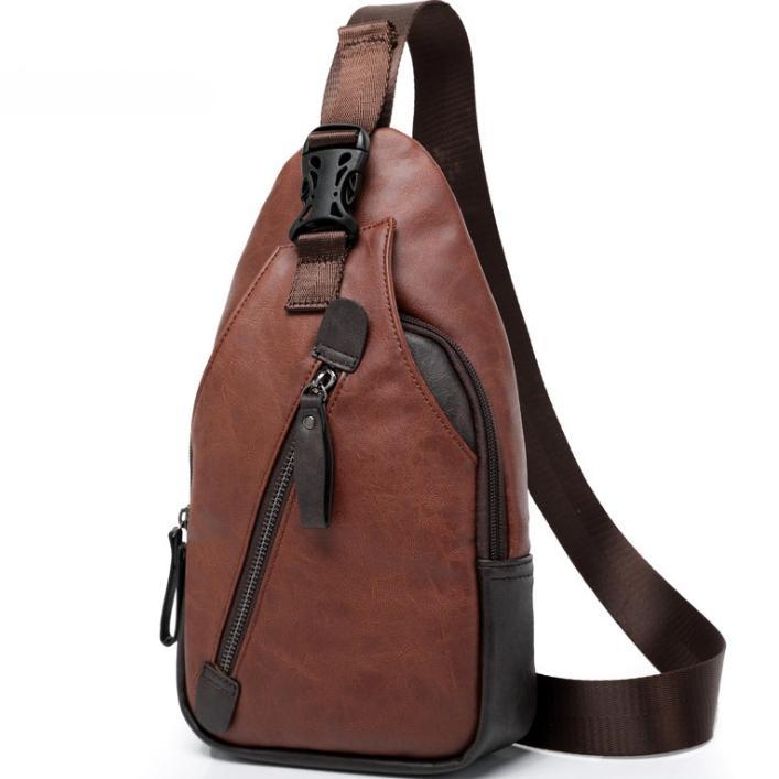 Korean Style Fashion Travel Casual PU Leather Chest Bag Sling Pack Crossbody Shoulder Bag High Quality Shoulder Backpack For Men
