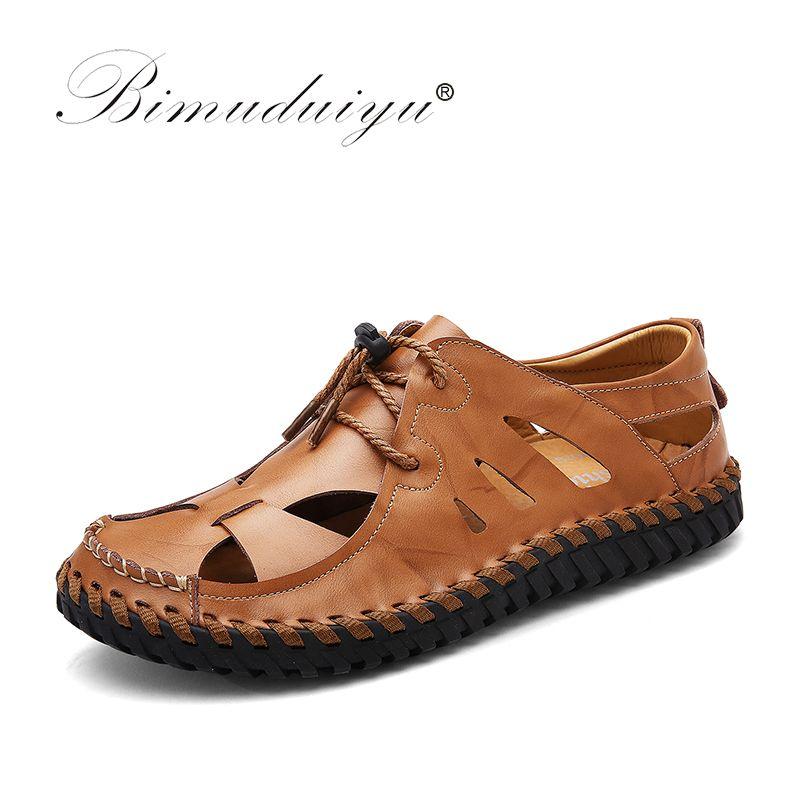 34e1d97a728 Compre Bimuduiyu Nuevos Hombres Sandalias De Cuero De Marca Zapatos  Casuales De Verano Transpirable Beach Volver Sandalias De Correa De Moda  Zapatos ...