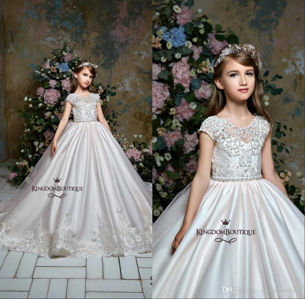 2019 Lace Little Kids Flower Girl Dresses Princess Crew Neck Cap Sleeves  Applique Beaded Girls  Pageant Birthday Party Formal Dresses BC0352 Second  Hand ... 8c2a26b6f3a5