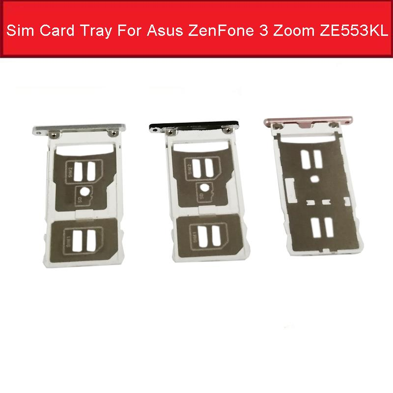 SIM Card Tray Socket Holder For Asus ZenFone 3 Zoom ZE553KL Sim SD Memory  Card Slot Reader Adapter Replacement Parts