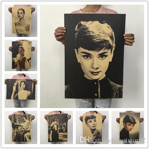500pcs/ Creative Fashion Home Decor Poster Audrey Hepburn Classic Characters Poster Beauty Retro Retro Poster Dorm Room Cafe Decorative Wall