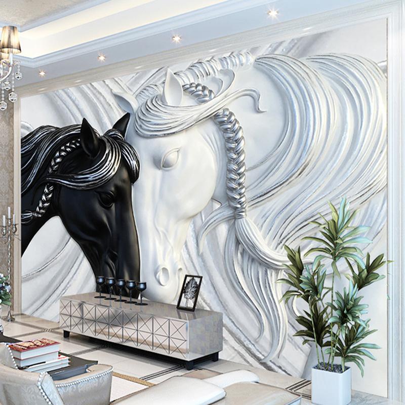 4c0c121cae2e0 Großhandel Benutzerdefinierte Fototapete Für Wände 3D Art Fashion Murals Schwarz  Weiß Doppel Pferde Geprägte Vliestapete Wandverkleidungen Von Cansou