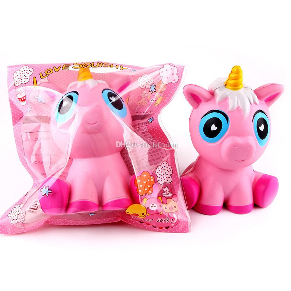 Simülasyon unicorn Squishy Yavaş ribaund Sıkmak oyuncaklar 2018 yeni karikatür PU Dekompresyon Oyuncak Kawaii Charms C3993