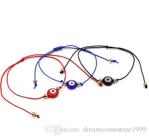 20 unids / lote Lucky String Evil Eye Lucky Red Cord ajustable pulsera joyería DIY