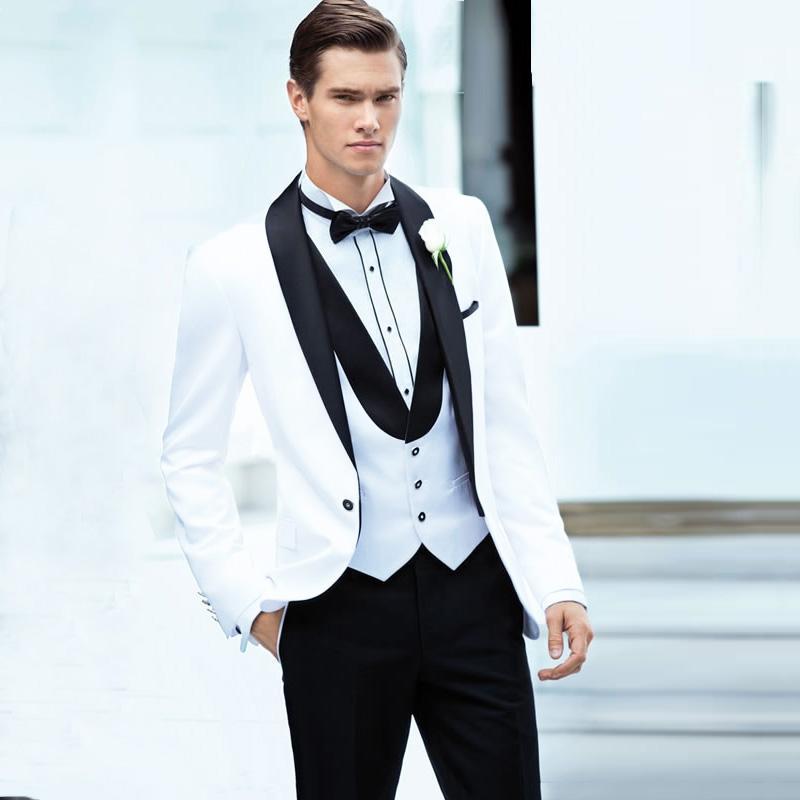 Acheter Costume Homme Mariage Noir Châle Revers Blanc Costumes De Mariage  Pour Hommes Blazer Veste Formel Groom Tuxedos Marié Costume 3 Pièces De   133.21 Du ... 8b0474e9cce
