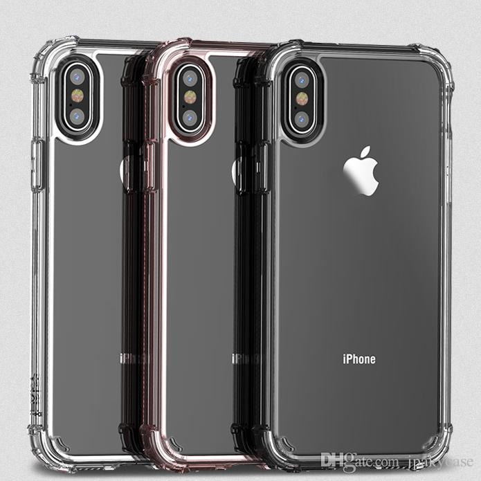 super popular 083cb 03641 iPaky Case For iPhone X High Clear Transparent Back Cover Drop-proof  Shockproof PC TPU Hard Soft Cases With Retail Package In Stock