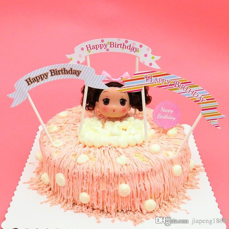 Happy Birthday Cake Decoration Card Cupcake Topper Small Flag Picks