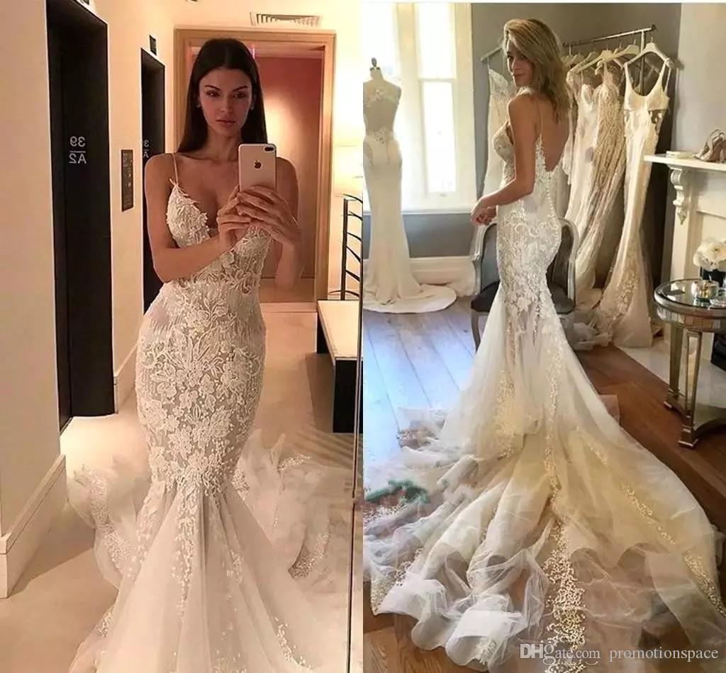Sexy spaghetti sirena vestidos de novia 2020 vintage encaje apliques sin respaldo Vestido de novia tren trenes camiones nupciales BA6564