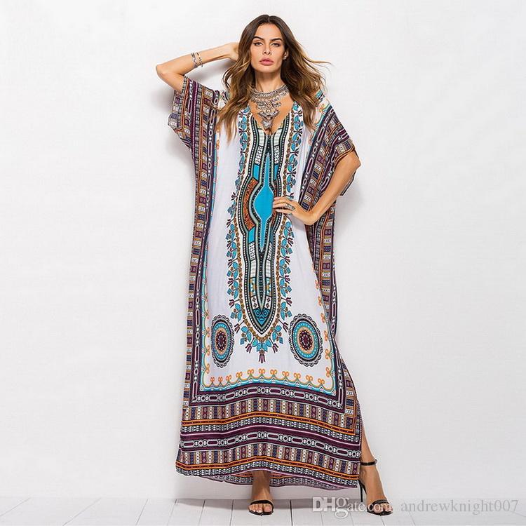 Großhandel Neue Frauen African Print Kaftan Plus Size Strand Kleid Frauen  Dashiki Sommer Kleider Ethnische Boho Bohemian Robe Lose Lange Maxi Kleid  DK3041CS ... 9b4ae49a4e