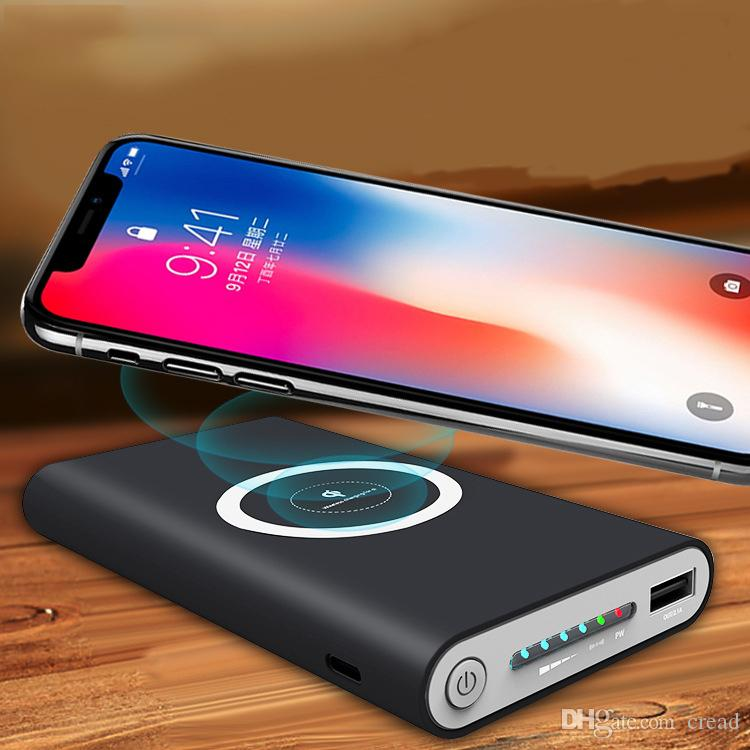 new product 5c1d2 bb894 New Wireless Qi Charger 10000mAh Power Bank Fast Charging Adapter For  Samsung NoteS8 For iPhone 8 iphone X with Package