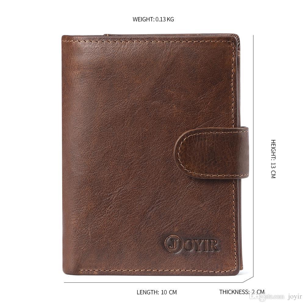 Wholesale 100% Genuine Leather Wallet Men Coin Purse Male Small Walet Slim Portomonee Rfid Mini PORTFOLIO Wallet Black Travel Cards Wallet