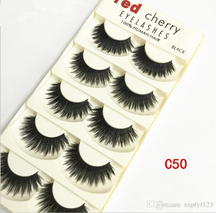 5pairs Handmade Pro Women Makeup Black False Eyelashes Long Natural Thick Soft Eye Lashes Extension Make Up Tools Lustrous Surface Beauty Essentials Beauty & Health