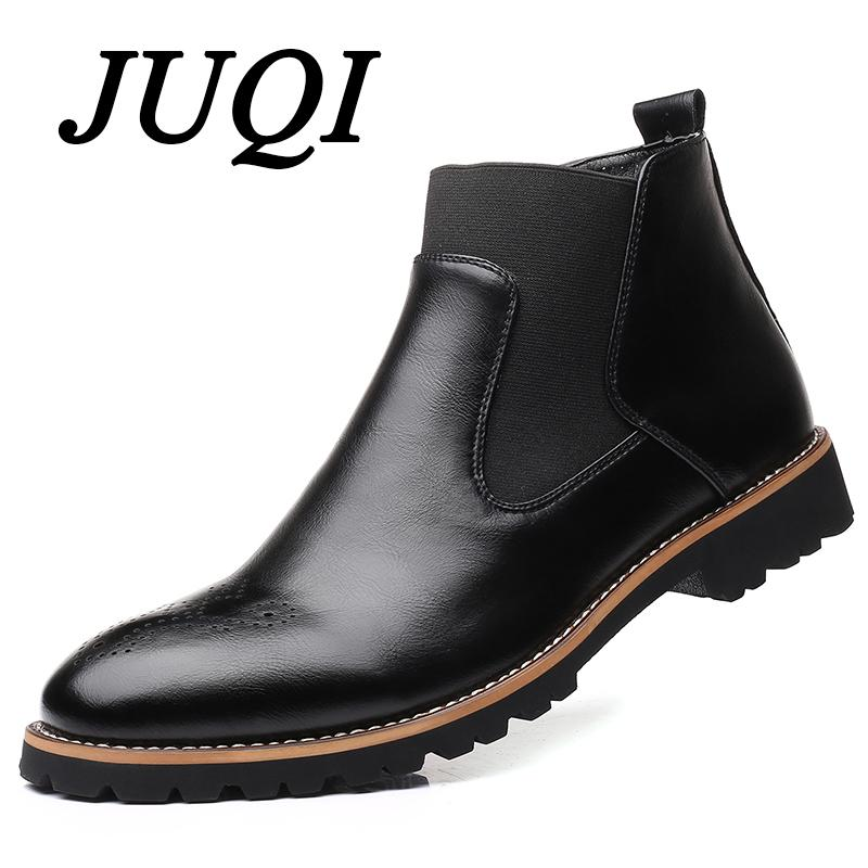931821edb JUQI Men Boots Slip On Waterproof Ankle Boots Men Brogue Fashion Microfiber  Leather Shoes Big Size 38 48 Cute Shoes Boots From Foxtotho, $29.41|  DHgate.Com