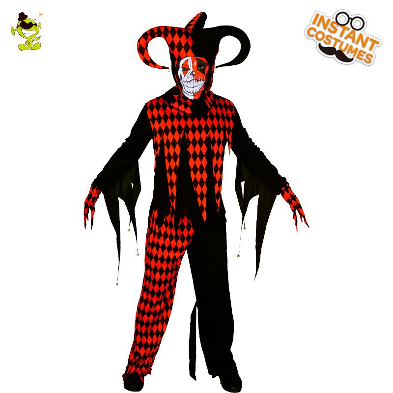 Scary Clown Halloween Costume.2018 Men S Evil Jester Clown Costumes Masquerade Halloween Party Scary Clown Suit Imitation Party Cosplay Evil Clothing