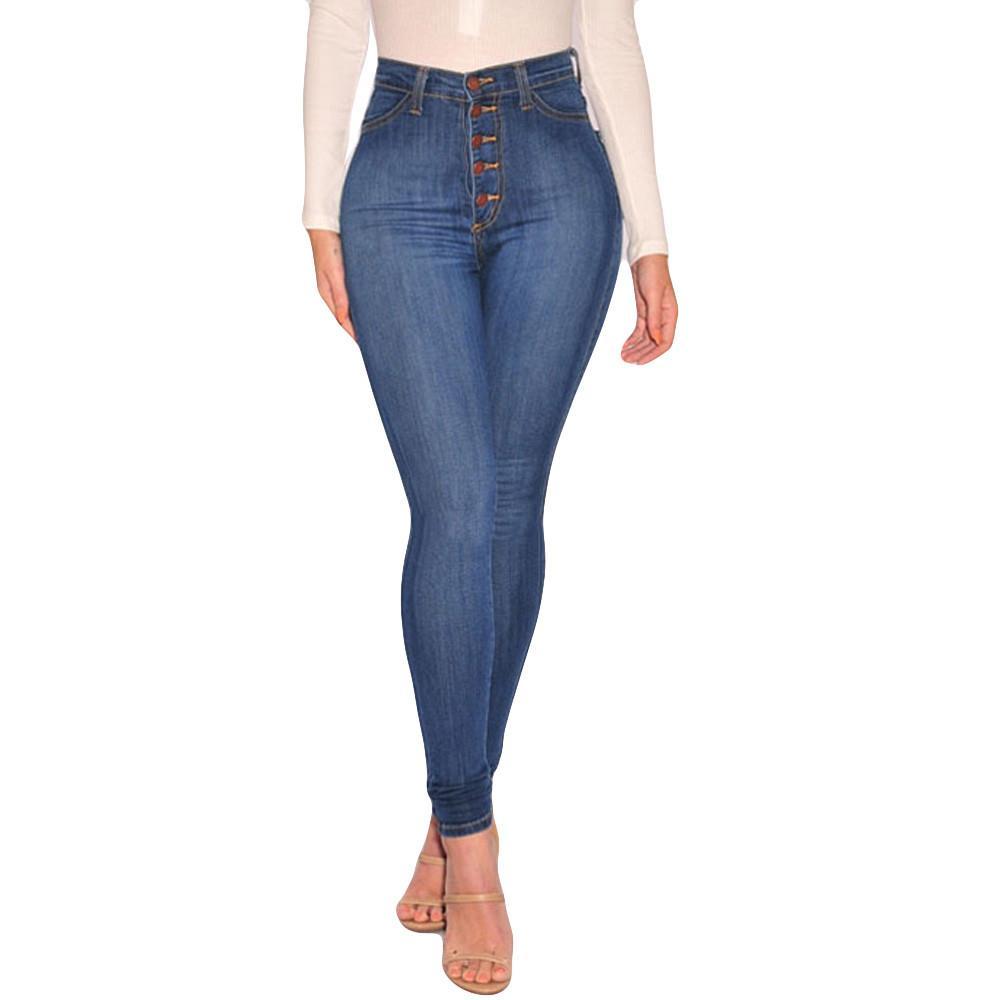 3c59466012d Compre 2018 Nuevas Mujeres De La Moda De Talle Alto Flaco Jeans De Mezclilla  Estirar Los Pantalones Delgados Pantorrilla Longitud Pantalones Vaqueros De  Las ...