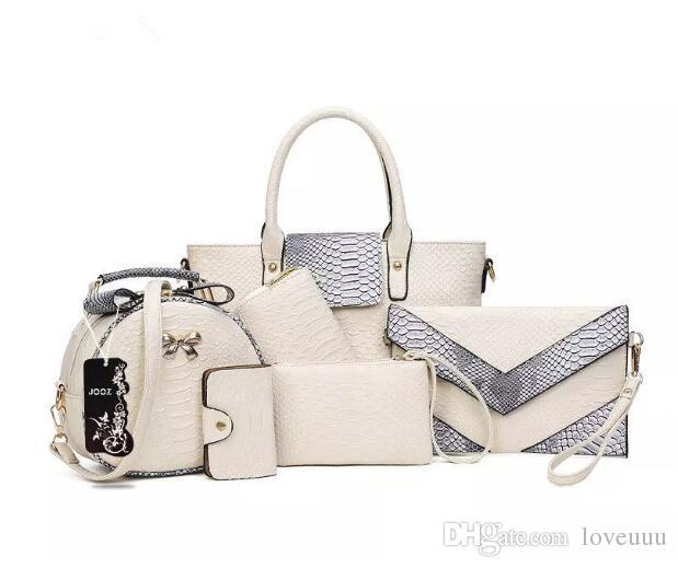 4c1396ef10500 Großhandel Marke Luxus Mode 6 Stücke Alligator Frauen Ledertaschen ...
