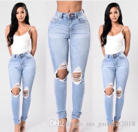 Slim Vita Blu Plus Calda 2018 Vendita Vittoriano Elastica Sottile Moda Pantaloni Denim Alta Fori Jeans Size Stile Donna 8 Matita TwOngWIHqx