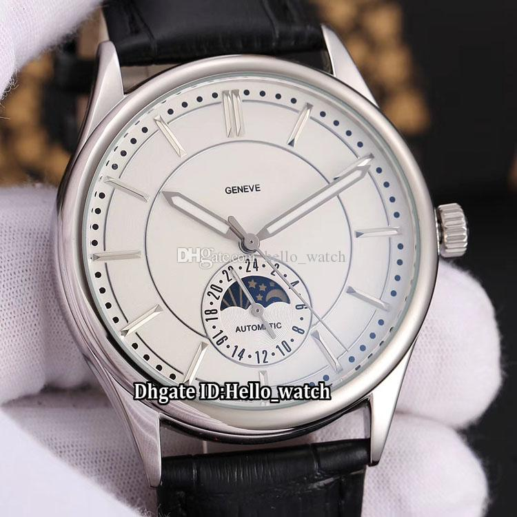 Brand New 43mm Complications Moon Phase 5205g 001 Automatic White Dial Mens Watch Steel Case Brown Leather Strap Gents Watches High Quality