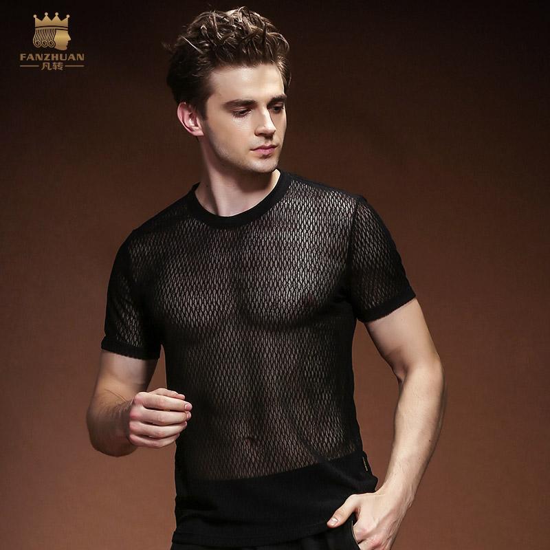 a719ba377f5 Fanzhuan 2018 Male Men S Man Perspective Pack Summer Mesh Hollow T Shirt  Black Round Neck T Shirt Europe 815125 T Shirt Shirt Designs T Shirt Shop  Design ...