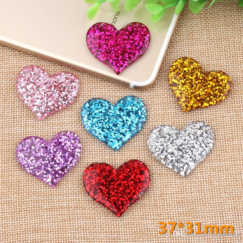 33MM DIY handmade colored resin glitter heart charms flatback kawaii cabochon sticker pendant jewelry making accessories