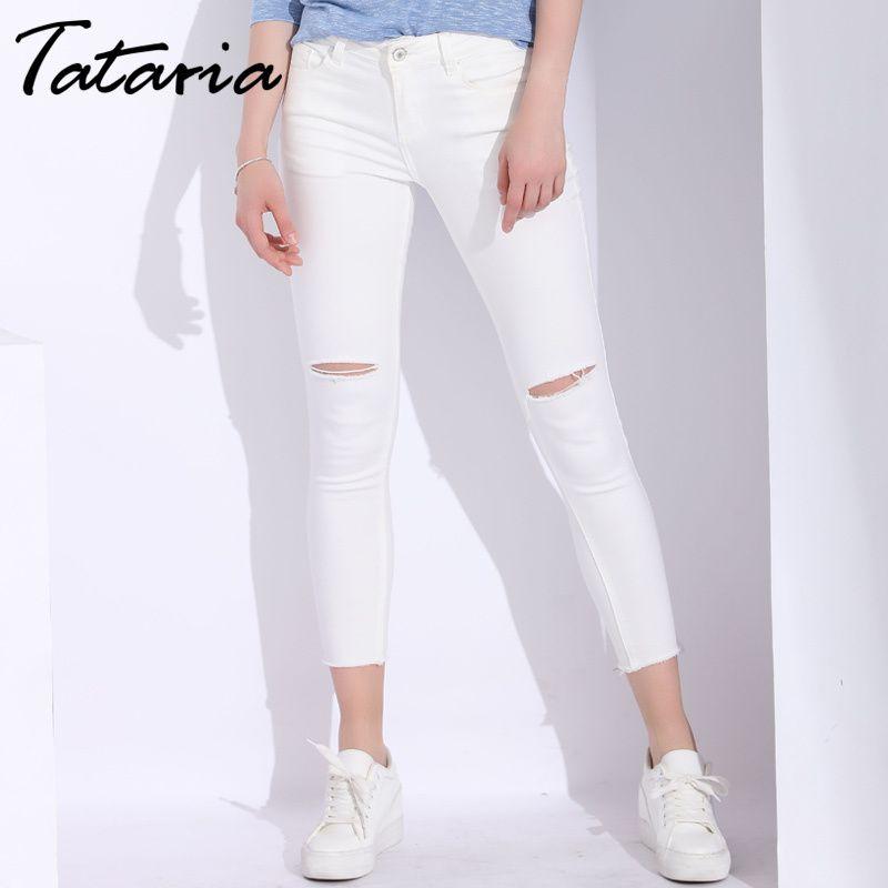 Jeans Fori Slim Skinny Denim Bianchi Acquista Donna Con zCwqCd1