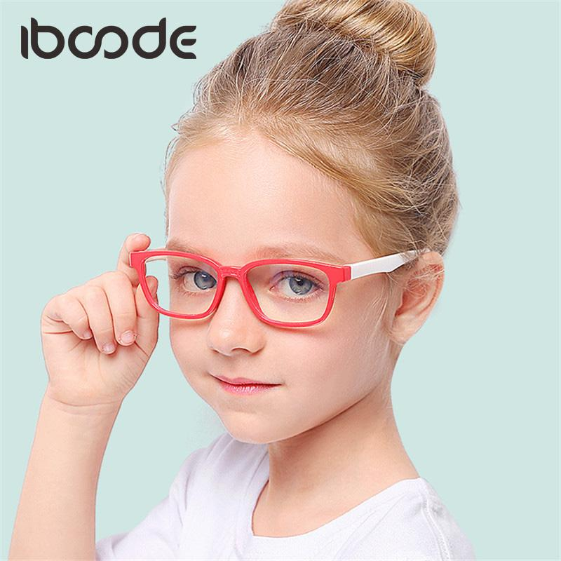 iboode New 2018 Silicone Soft Glasses for Baby Girl Boy Anti Blue Ray Lens Eye Protector Children Glass Frame Goggles Clear Lens