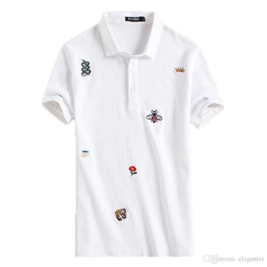 Summer Handsome Young Male Embroidered Polo Fat With Short Sleeves