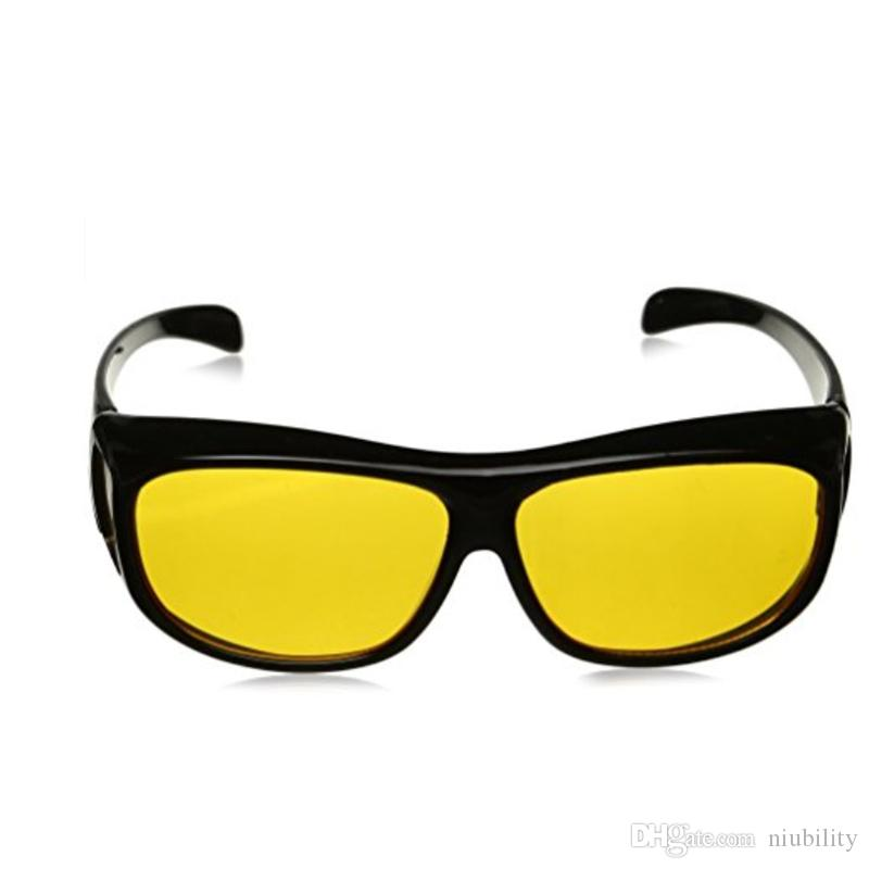 New stock! HD Night Vision Driving Sunglasses Yellow Lens Over Wrap Glasses Dark Driving Protective Goggles Anti Glare Outdoor Eyewear