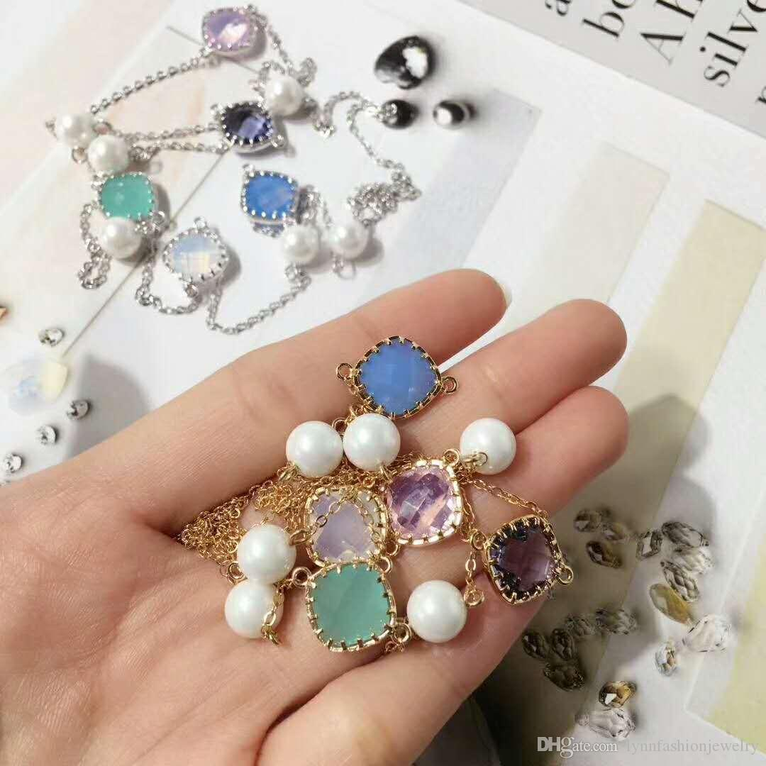 Long Sweater Colorful Stone Pearl Round Square Necklace All Matching Style Yung Lady Party Wedding Graceful
