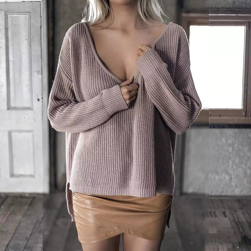 a7f25b3fdf 2019 Yinlinhe Pink Deep V Neck Autumn Sweater Women Long Sleeve Sexy Jumpers  Loose Knitted Pullovers Cold Shoulder Casual Tops 473 From Xiayuhe