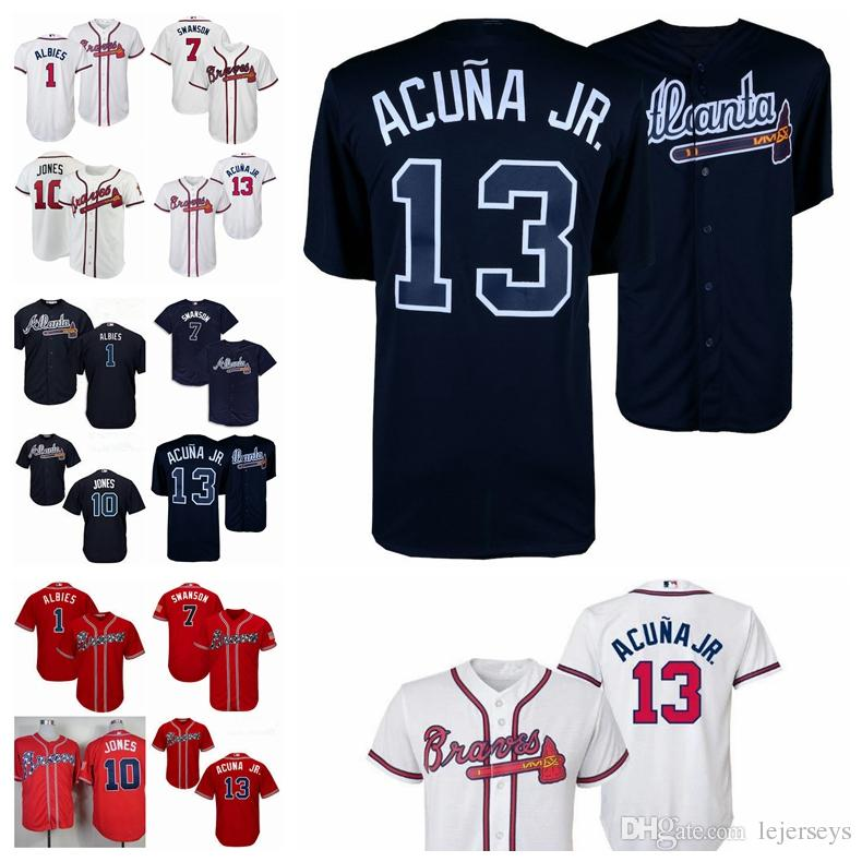 9cdf099dfb6 Atlanta #13 Ronald Acuna Jr. Jersey 7 Dansby Swanson 10 Chipper ...