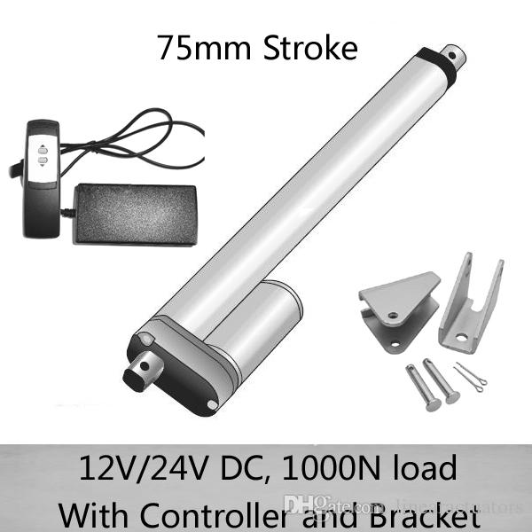 DC 24V 75mm stroke linear actuator with 1 for 1 remote controller and  mounting brackets 1000N/100kgs load 10mm/s speed waterproof