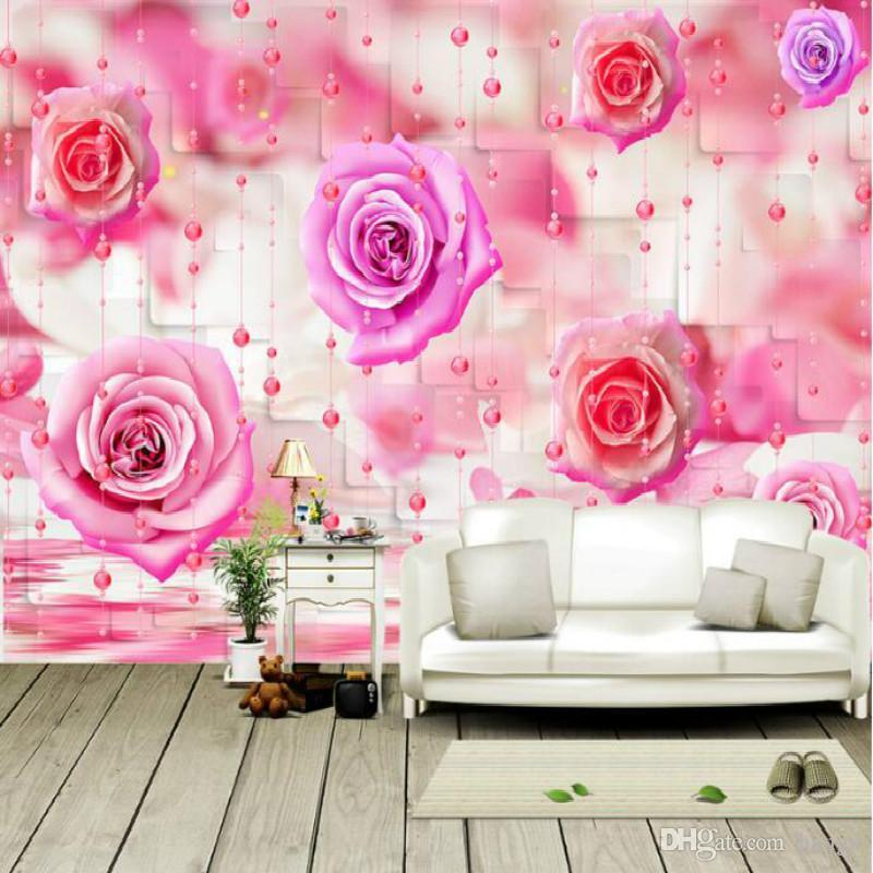 Rose Bead Curtain Large Mural 3d Wallpaper Living Room Bedroom 3d ...