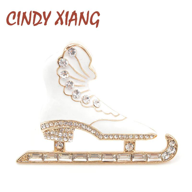 ef01c5e29 CINDY XIANG Rhinestone White Color Enamel Skating Shoes Brooches for ...