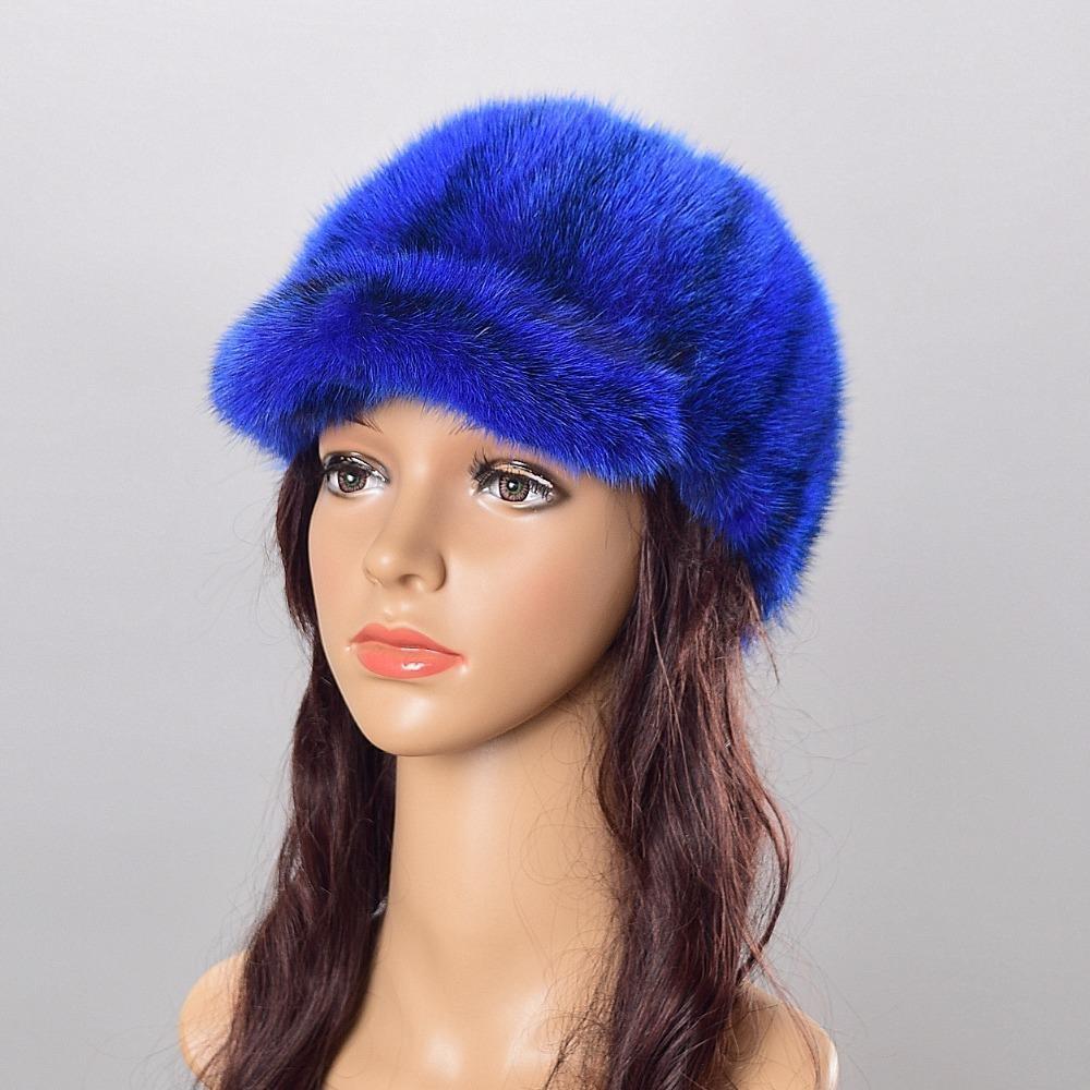 892cfa2b53043 Compre Sombreros De Piel Para Mujer Gorro De Piel De Visón Sombreros De  Punto Para El Invierno Mujer Gorros Moda Rusa Sombrero De Invierno De Las  Mujeres ...