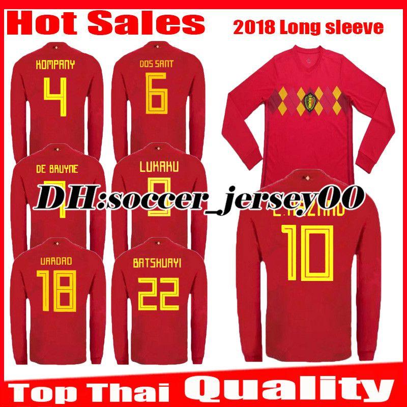 2018 2019 World Cup Belgium Long Sleeve Soccer Jersey 18 19 LUKAKU ... c2c09d951