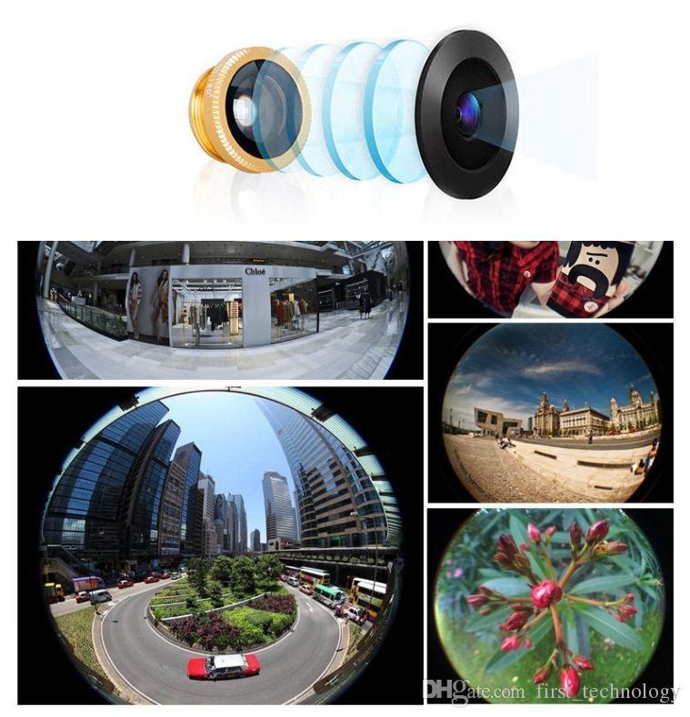 유니버셜 메탈 클립 카메라 아이폰 6 7에 대한 물고기 눈 + 매크로 + 광각 렌즈 삼성 갤럭시 S8 화웨이