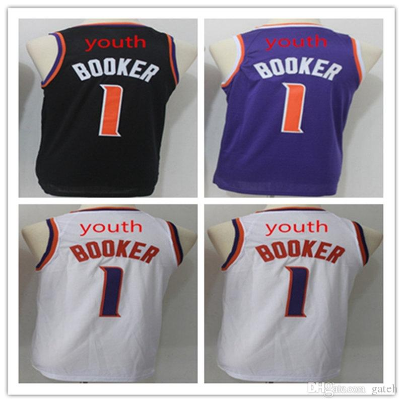 new styles 82e45 d3653 Best Quality New kids 1# Devin Booker Jersey Booker Youth Basketball  Jerseys Stitched purple white Basketball Jerseys Free Shipping
