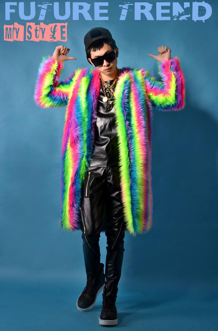 Mens Womens Faux Fur Rainbow Colors Christmas Cosplay Prom Jackets Halloween Thick Parka Coats Nightclub Long Outwear