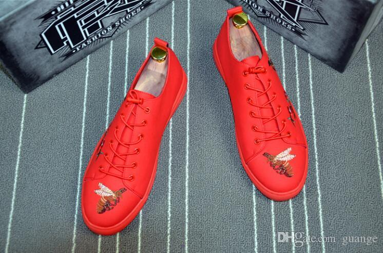 2018 New Style Luxury Business Men Shoes Lace-up red black embroidery Leather Real Leather Mens Moccasins Italian Design Loafers Shoes Z617