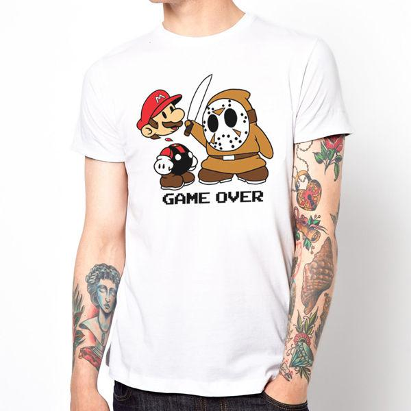 Mario vs Jason 13 GAME OVER party humor funny gift unisex white t-shirt