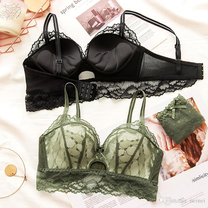 c9972faa61d8e 2019 Fresh Lace Underwear Set Wire Free Young Ladies Sexy Hollow Out Bra  And Panty Set Push Up Side Gather Fashion Lingerie From Neinei, $11.07    DHgate.Com