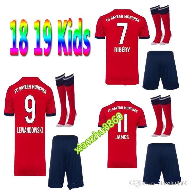 3ac12d63d69 2019 2018 2019 James Kids With Sock Soccer Jersey 18 19 ROBBEN VIDAL  LEWANDOWSKI MULLER Home Away Football Uniforms ALABA LAHM Child Shirt From  Xiaozhu8860
