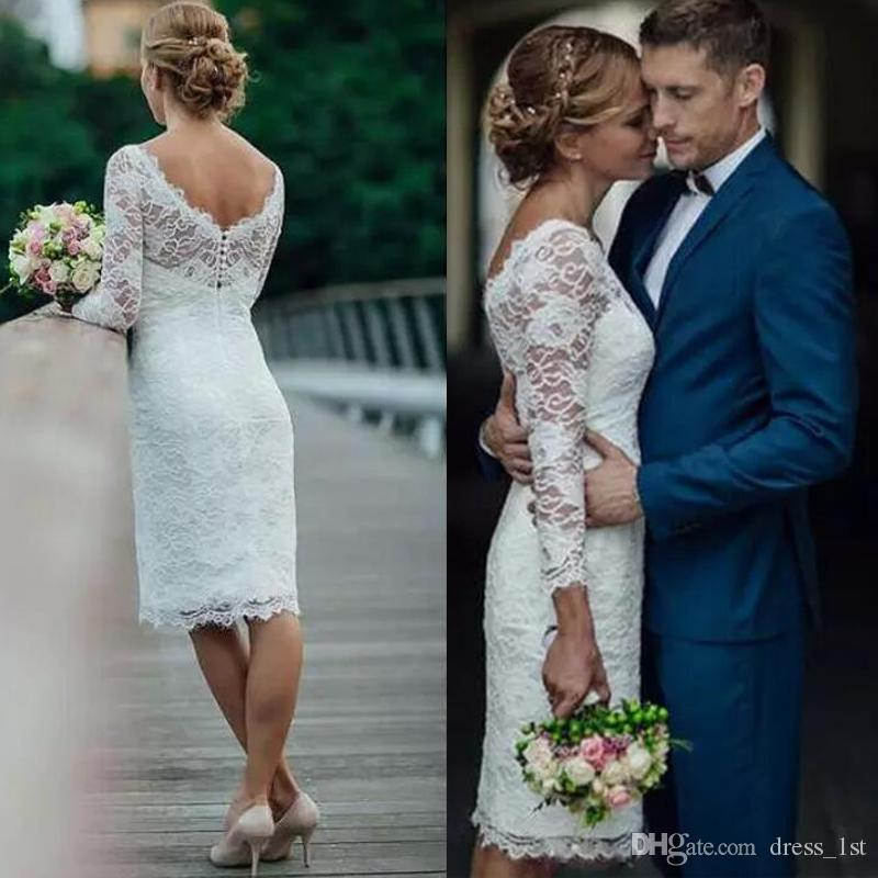 8c03c1bcd02 Summer 2017 Short Lace Wedding Dresses Knee Length Simple White Ivory Short  Sheath Wedding Dresses Bridal Gowns Wedding Dresses Online Bridal Gowns  From ...