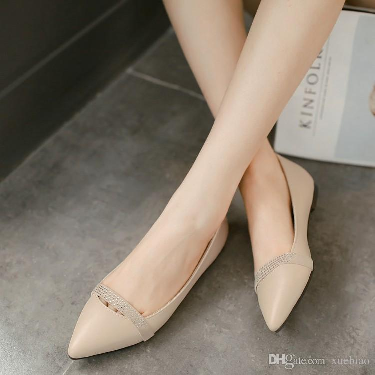 beb925bf7e9 Ballet Flats Rhinestone Sweet 2018 Ultra Big Size 30 49 Pointed Toes Flat  Heel Wedding Women Shoes HGJF 1231a Mens Leather Boots Mens Shoes Online  From ...