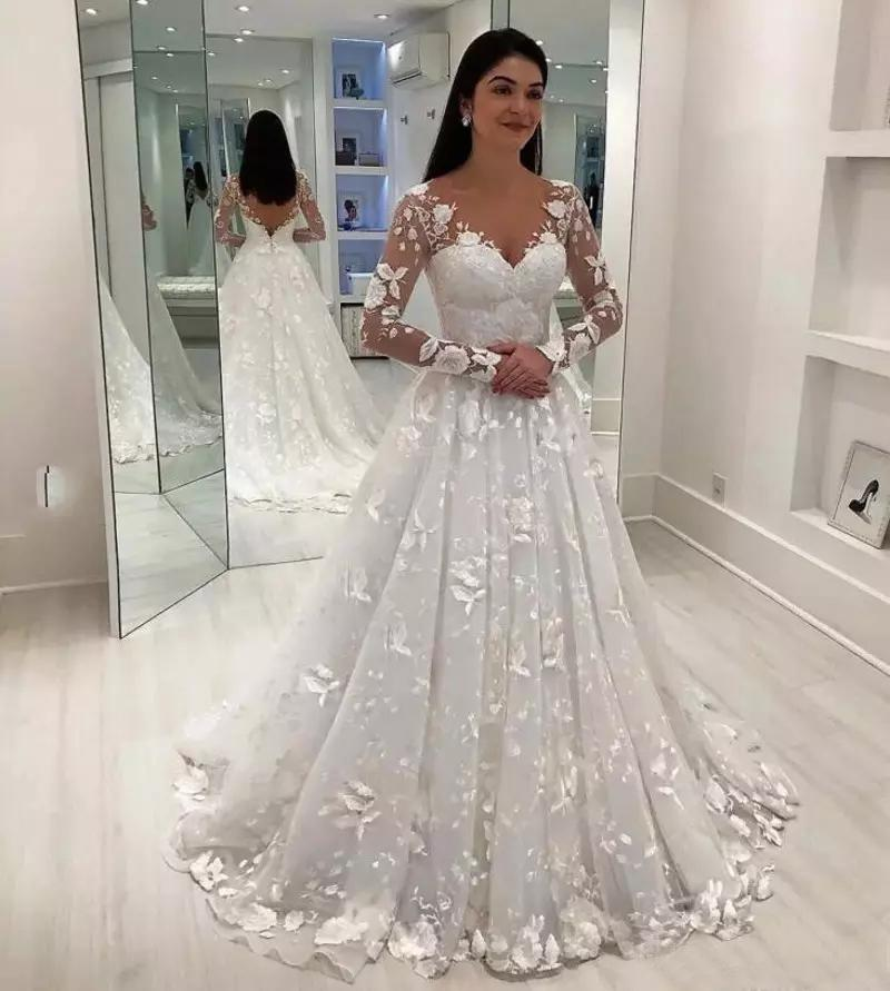 2019 Wedding Dresses With Sleeves: Discount Vintage Long Sleeves Lace Wedding Dresses 2019