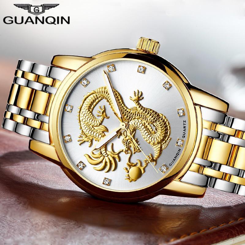 a73afc4a350 Compre GUANQIN Homens Relógios Chineses Dragão De Ouro Da Marca De Luxo  Escultura Relógio De Quartzo Homens De Negócios De Design De Moda À Prova D   Água ...